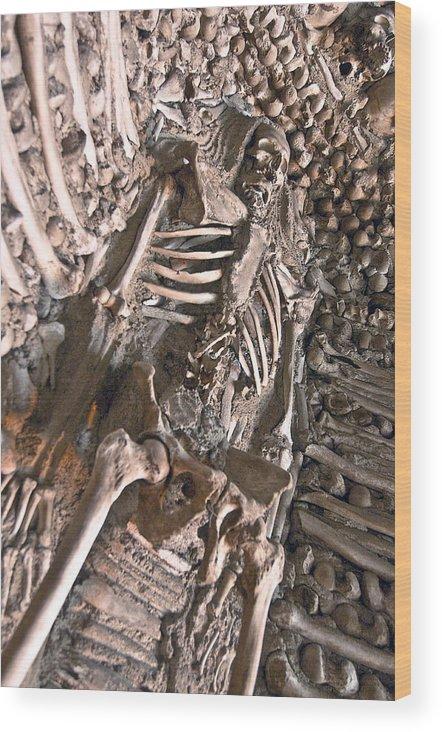 Chapel Of Bones Wood Print featuring the photograph Chapel Of Bones Campo Maior Portugal 2011 by John Hanou