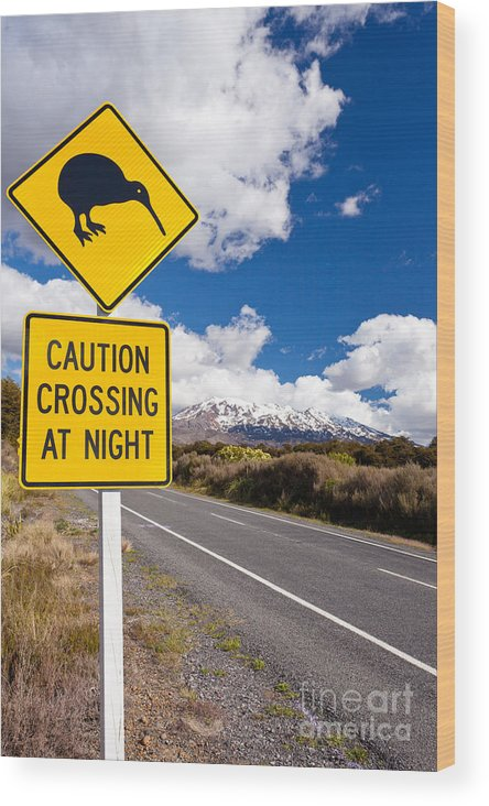 Mount Wood Print featuring the photograph Kiwi Crossing Road Sign And Volcano Ruapehu Nz by Stephan Pietzko