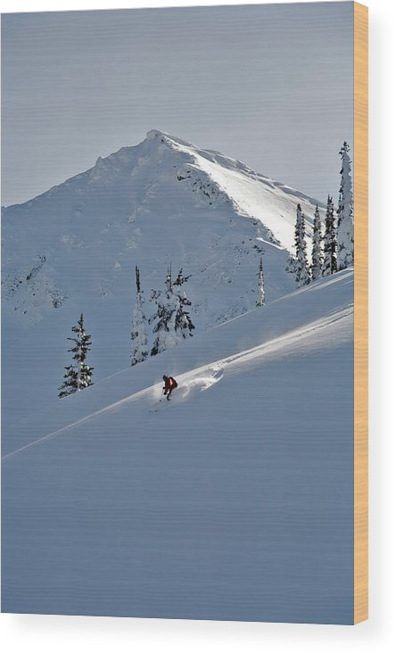 Adventure Wood Print featuring the photograph Man Skiing, Valhalla Mountain Touring by Whit Richardson
