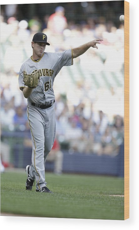 Wisconsin Wood Print featuring the photograph Pittsburgh Pirates V Milwaukee Brewers by Mike McGinnis