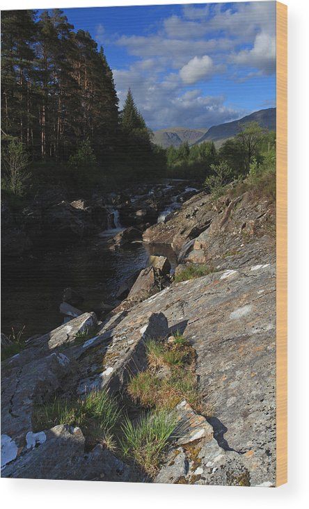 Scotland Wood Print featuring the photograph Waterfall In The Scotish Highlands by Ollie Taylor