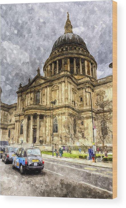 Vintage Wood Print featuring the digital art St Paul's Cathedral London by David Pyatt