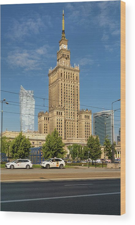 Warsaw Wood Print featuring the photograph Palace Of Culture And Science In Warsaw by Artur Bogacki