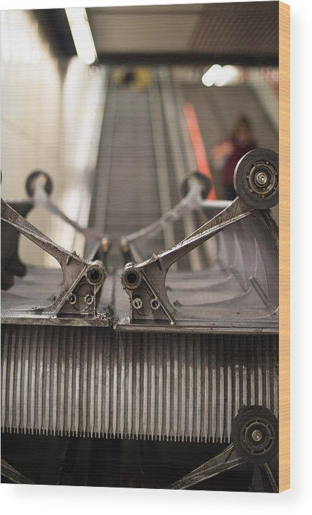 Escalator Wood Print featuring the photograph Escalator Construction Works by Frank Gaertner