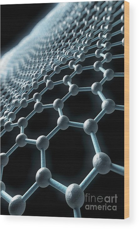 Carbon Atom Wood Print featuring the photograph Graphene Structure by Science Picture Co