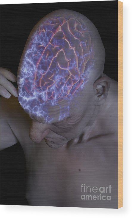 Migraine Wood Print featuring the photograph Head Pain by Science Picture Co