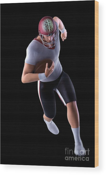 Injure Wood Print featuring the photograph American Football Player by Science Picture Co