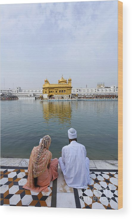Amritsar Wood Print featuring the photograph The Golden Temple At Amritsar India by Robert Preston