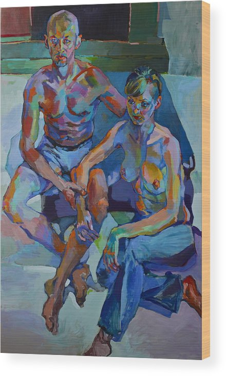 People Paintings Paintings Wood Print featuring the painting A Night Before Breakup by Piotr Antonow