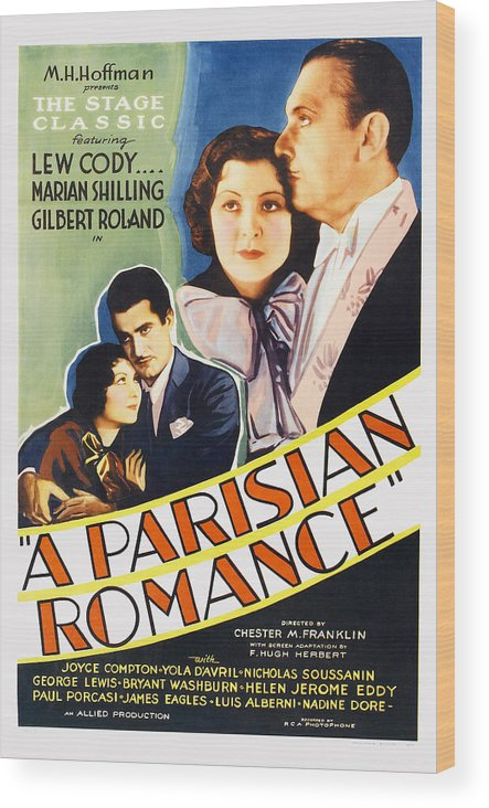 1930s Movies Wood Print featuring the photograph A Parisian Romance, Us Poster Art by Everett