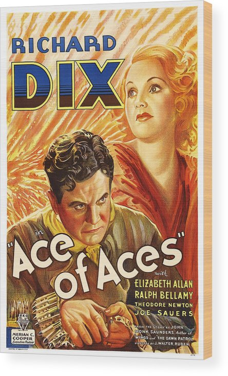 1930s Movies Wood Print featuring the photograph Ace Of Aces, Us Poster Art, From Left by Everett