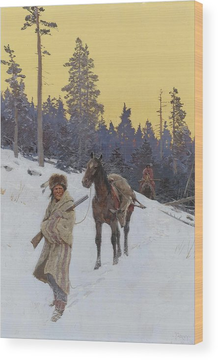 Native American Wood Print featuring the painting After The Hunt by Mountain Dreams