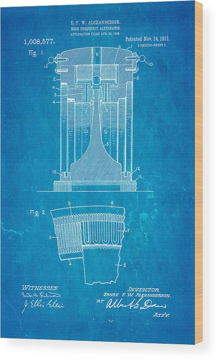 Electricity Wood Print featuring the photograph Alexanderson Altenator Patent Art 1911 Blueprint by Ian Monk