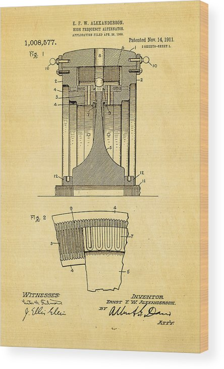 Electricity Wood Print featuring the photograph Alexanderson Altenator Patent Art 1911 by Ian Monk
