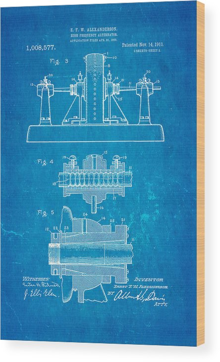 Electricity Wood Print featuring the photograph Alexanderson Altenator Patent Art 2 1911 Blueprint by Ian Monk