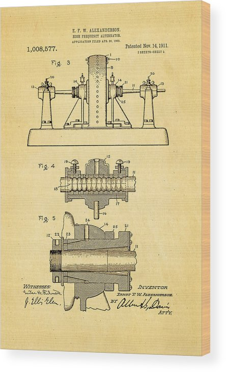 Electricity Wood Print featuring the photograph Alexanderson Altenator Patent Art 2 1911 by Ian Monk
