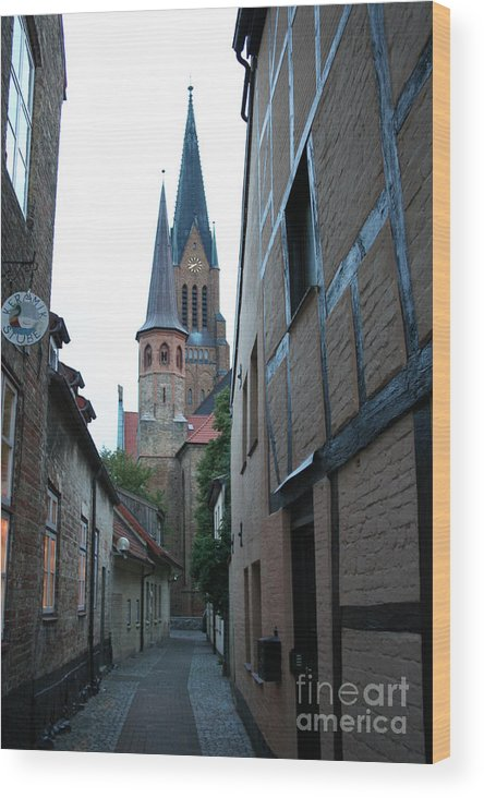 Alley Wood Print featuring the photograph Alley In Schleswig - Germany by Christiane Schulze Art And Photography