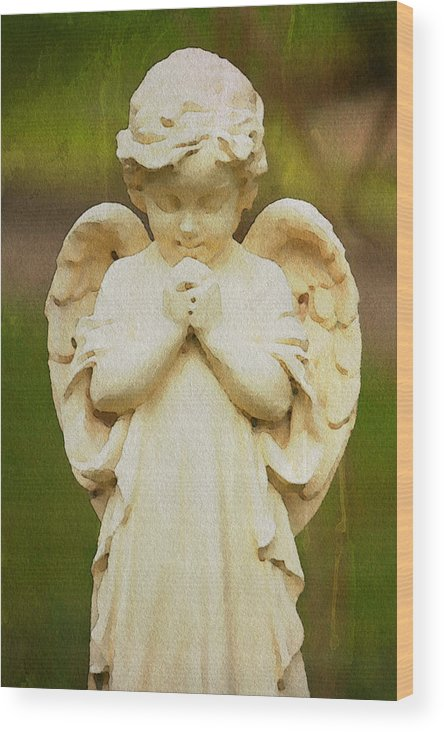 Angel Watercolor Gravesite Alicegipsonphotographs Wood Print featuring the photograph Angel Of Mine by Alice Gipson