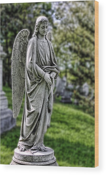 Sculpture Wood Print featuring the photograph Angel Sculpture by Linda Phelps