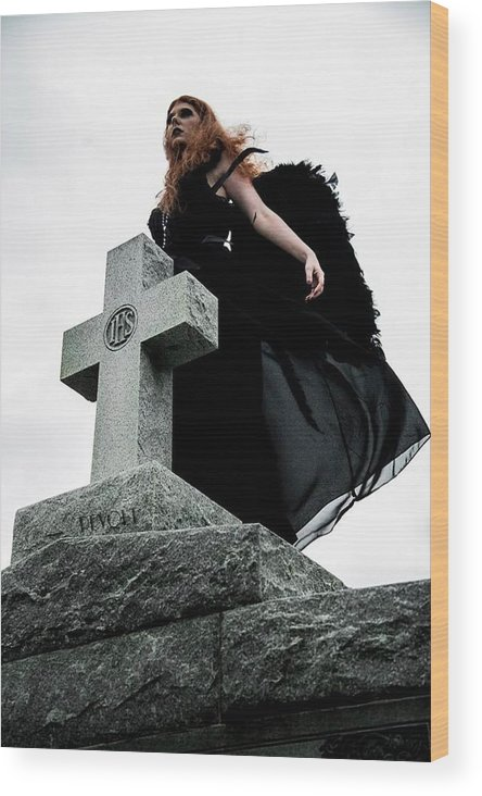Angel Wood Print featuring the photograph Angela Del Morte by Jake Revolt