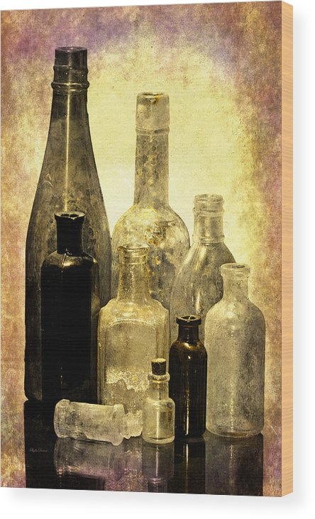 Bottles Wood Print featuring the photograph Antique Bottles From The Past by Phyllis Denton