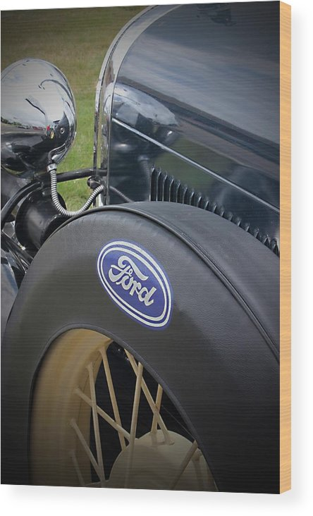 Auto Wood Print featuring the photograph Antique Ford by Brett Beaver