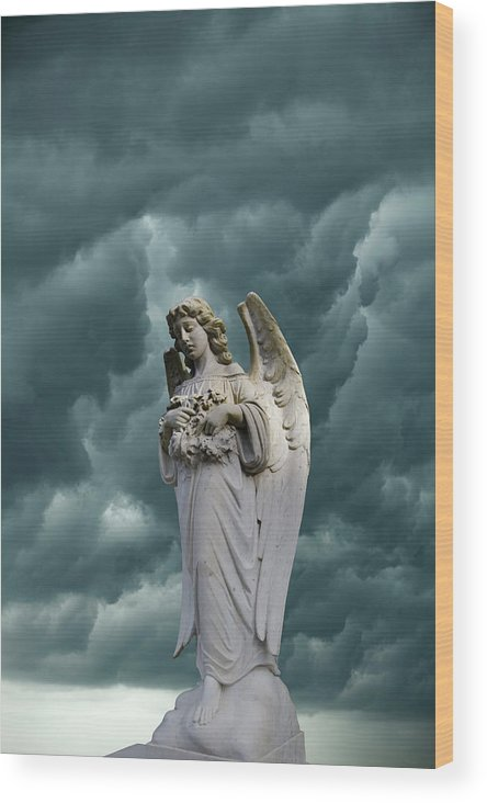Angel Wood Print featuring the photograph Artistic Creation Of Angel And Dark by Jaynes Gallery