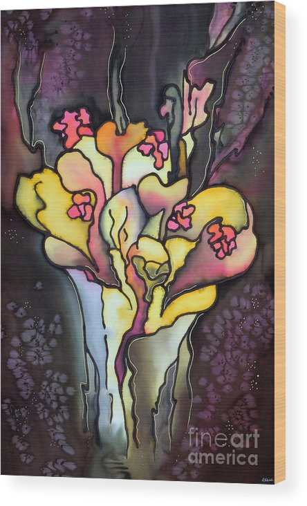 Silk Painting Wood Print featuring the painting Autumn Fire by Ursula Schroter