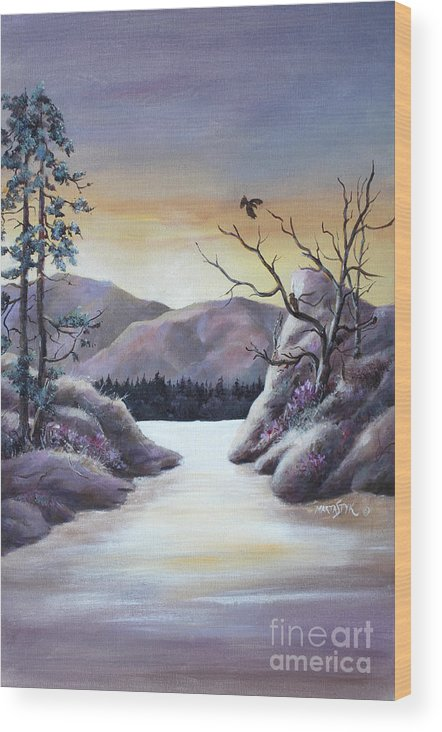 Landscape Wood Print featuring the painting Bathing In Sunset Colors 2 by Marta Styk
