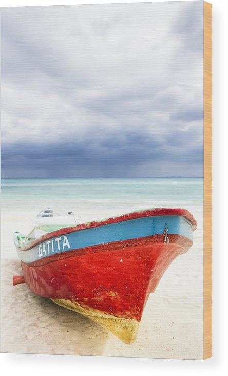 Playa Wood Print featuring the photograph Beached Beyond The Storm - Riviera Maya by Mark E Tisdale