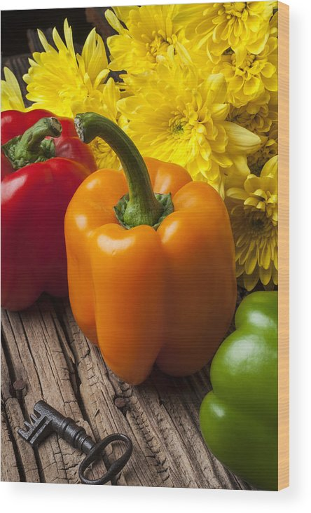 Bell Wood Print featuring the photograph Bell Peppers And Poms by Garry Gay
