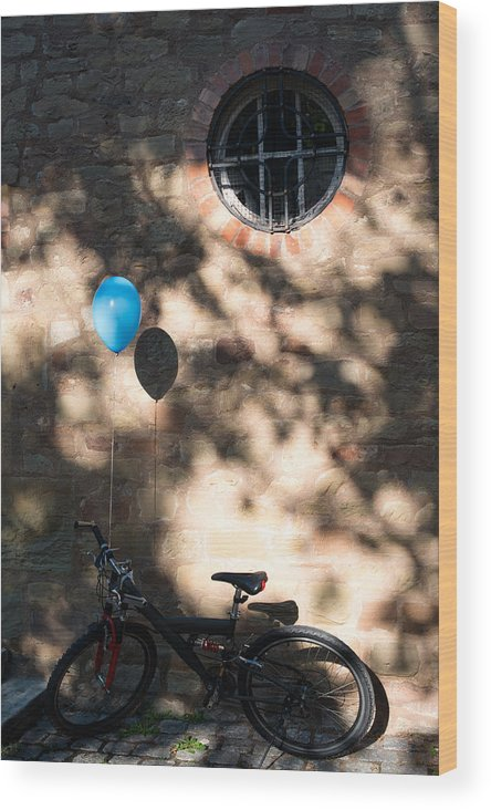 Bicycle Wood Print featuring the photograph Bike With Balloon by Frank Gaertner