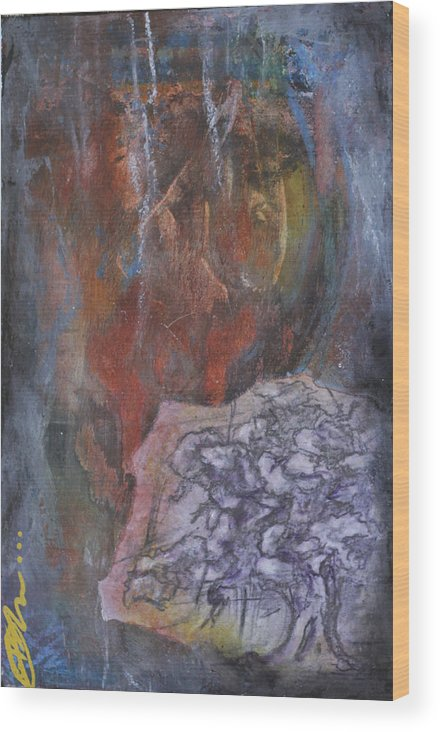 Floral Wood Print featuring the mixed media Blue Grey Tree No.2 by Bhreon Bynum