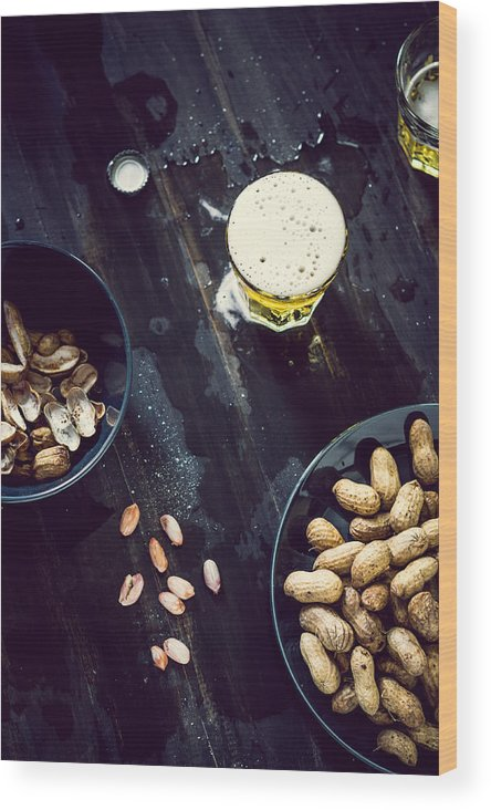 Alcohol Wood Print featuring the photograph Boiled Peanuts And Beer by Chien-ju Shen
