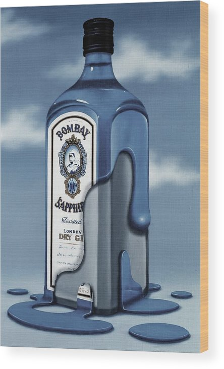 Gin Wood Print featuring the painting Bombay Sapphire by Paul Riesser