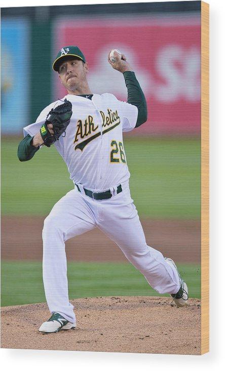 American League Baseball Wood Print featuring the photograph Boston Red Sox V Oakland Athletics by Jason O. Watson