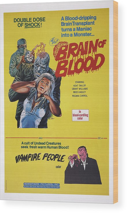 1970s Poster Art Wood Print featuring the photograph Brain Of Blood With Vampire People, Us by Everett