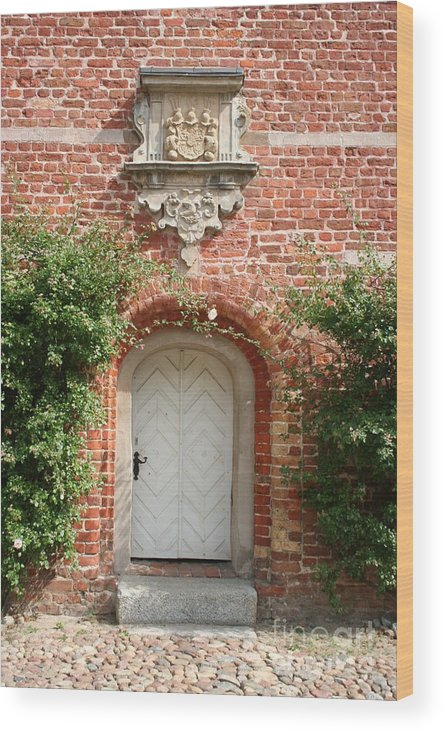 Brick Wood Print featuring the photograph Brickcastle And White Door by Christiane Schulze Art And Photography
