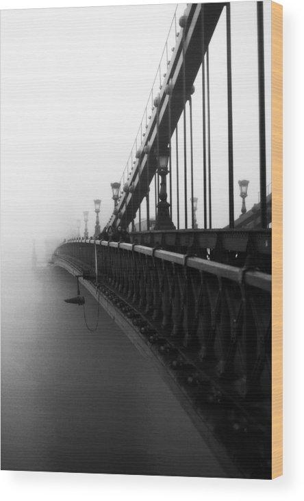 Black Wood Print featuring the digital art Bridge In The Fog - V by Vitaly Kozlovtsev
