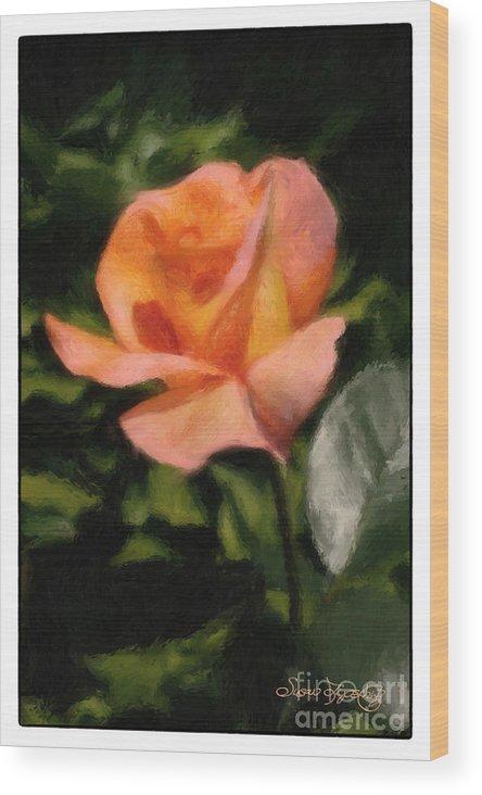 Susan Lipschutz Wood Print featuring the digital art Budding Rose by Susan Lipschutz