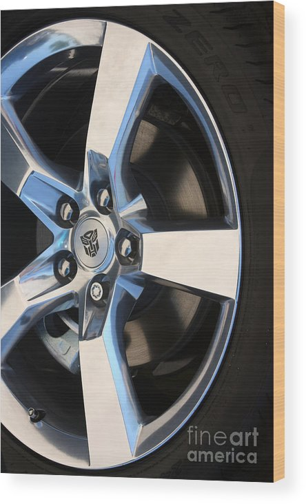 2011 Chevrolet Camaro Wood Print featuring the photograph Bumble Bee Wheel-7943 by Gary Gingrich Galleries