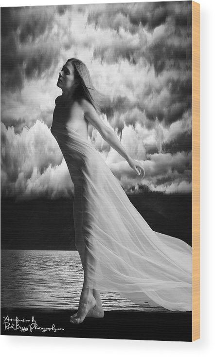 Black And White Wood Print featuring the photograph By The Lake by Rick Buggy