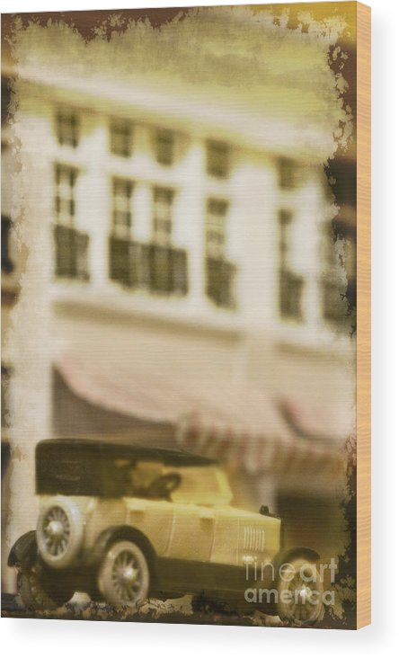 Antique; Car; Miniature; House; Windows; Driving; Auto; Automobile; Automotive; Classic; Drive; Old; Back; Home; Road; Outdoor; Outside; Perspective; Street; Awning; Transportation; Vehicle; Vintage; Building Wood Print featuring the photograph Car In Miniature by Margie Hurwich