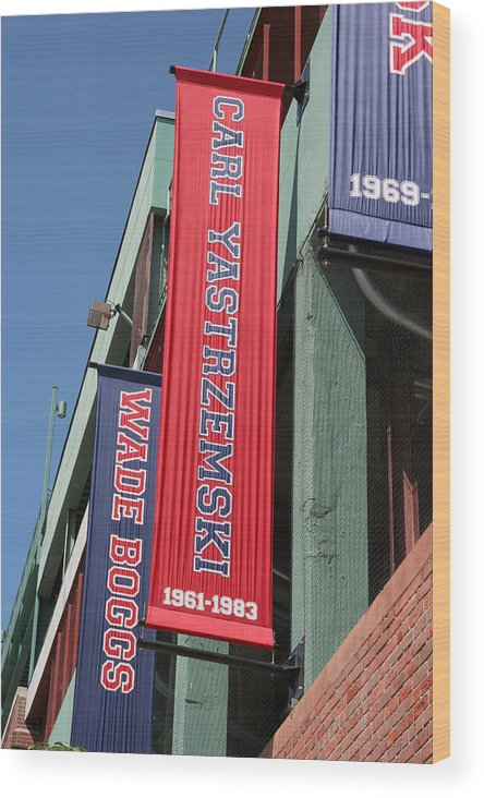 Mass Wood Print featuring the photograph Carl Yastrzemski Banner by Kathy Hutchins
