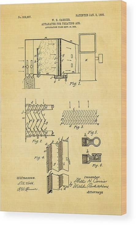 Engineer Wood Print featuring the photograph Carrier Air Conditioning Patent Art 1906 by Ian Monk