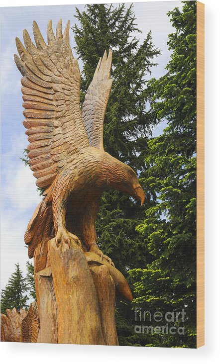 Grouse Wood Print featuring the photograph Chainsaw Carved Eagle by Brenda Kean