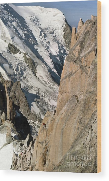 Mountaineers Wood Print featuring the photograph Chamonix Aiguilles, French Alps by Duncan Shaw