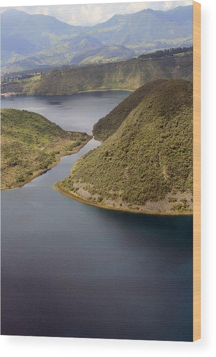 Lake Cuicocha Wood Print featuring the photograph Channel In Lake Cuicocha by Robert Hamm
