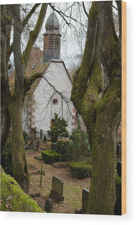 Chapel Wood Print featuring the photograph Chapel And Cemetary by Frank Gaertner