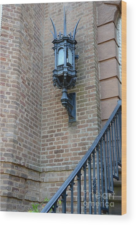 Charleston Gothic Lamps Architecture Wood Print featuring the photograph Charleston French Quarter Gothic Architecture - Charleston Gothic Ornate Black Lanterns Lamps by Kathy Fornal